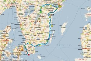 På kartan ser ni vår färdväg hemifrån och till Trelleborg